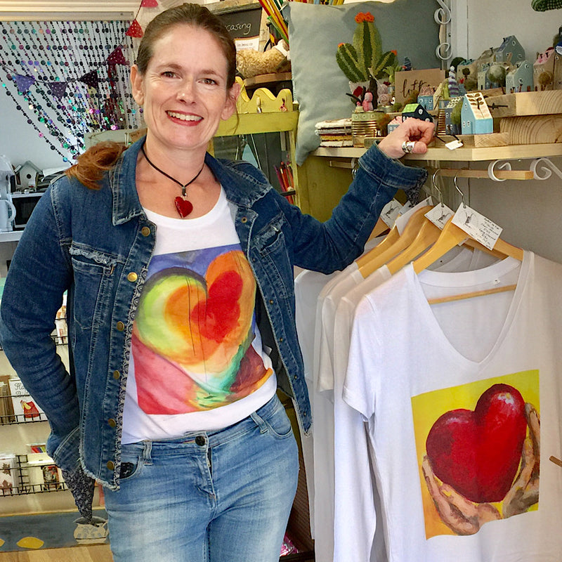 Original painting art work by Michelle Turner Hold your heart high 100% organic cotton T-shirts Free UK Delivery