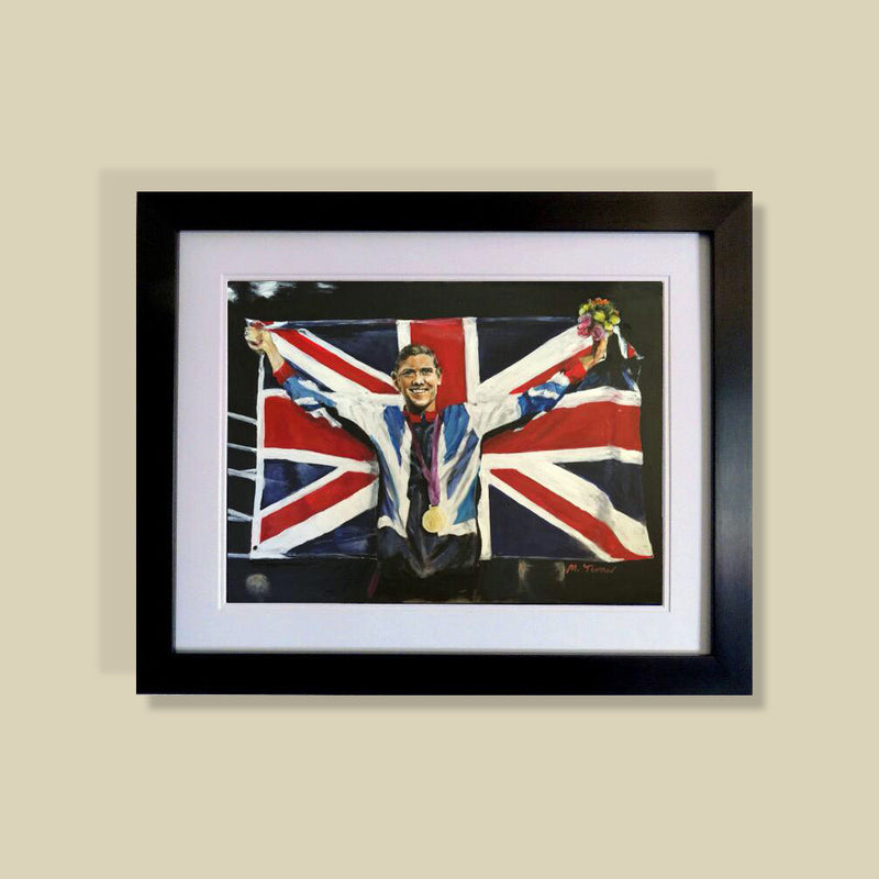 Limited Edition of 5 prints of the original painting by Michelle Turner of Olympic Gold Medallist and Commonwealth boxing champion Luke Campbell MBE after his 2013 win, commissioned by Luke.  Each original print has been signed by Luke Campbell himself and is printed on museum-quality art paper using archival inks.