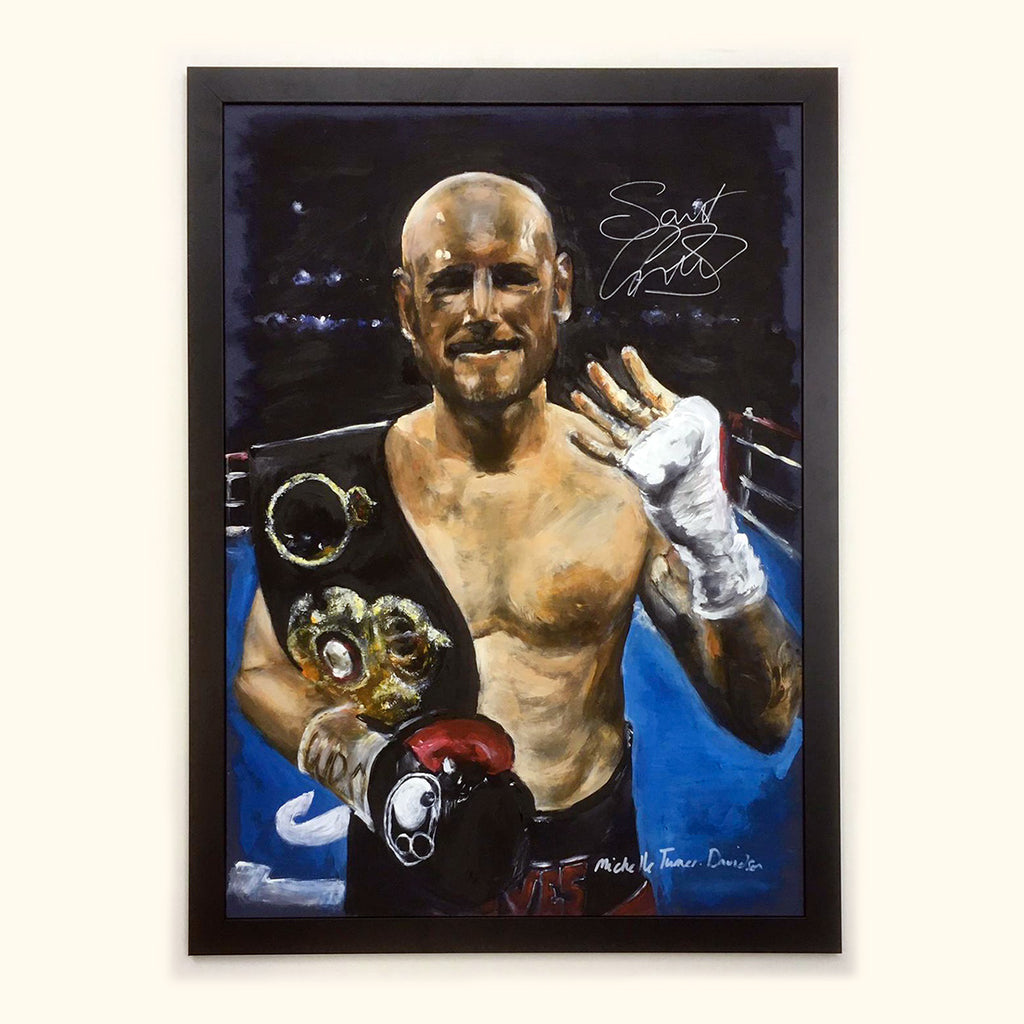 Signed by George Groves Original Painting by Michelle Turner of 'Saint' George Groves former British, Commonwealth, European and WBA World Super-Middleweight Boxing Champion celebrating winning the world title in 2017 on his 4th attempt.