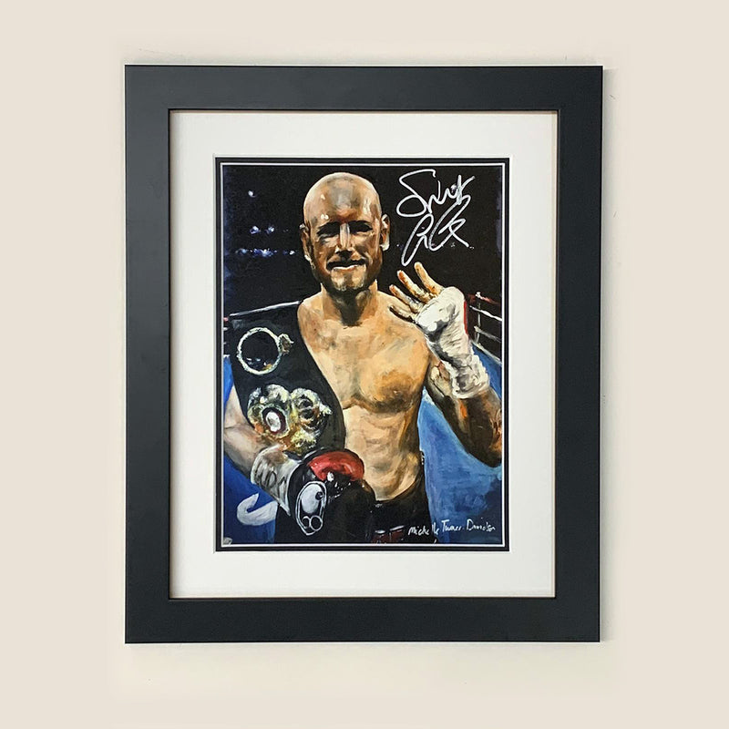 Limited Edition of 5 prints of original painting by Michelle Turnerof 'Saint' George Groves former British, Commonwealth, European and WBA World Super-Middleweight Boxing Champion celebrating winning the world title in 2017 on his 4th attempt.   Each original print has been signed by George Groves himself and is printed on museum-quality art paper using archival inks.
