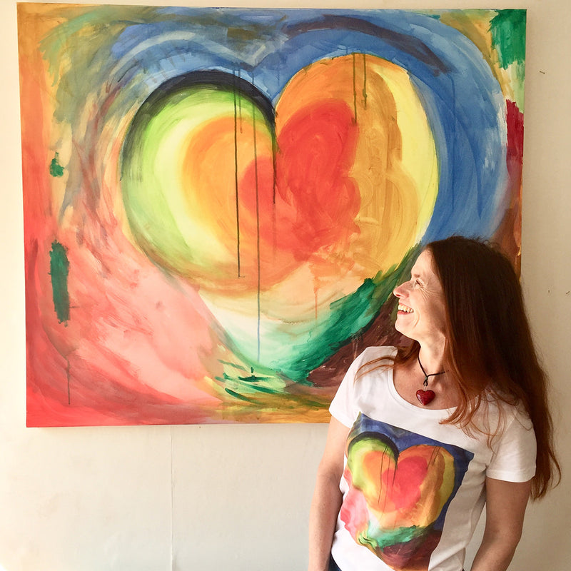 Original painting Heart of Life by Michelle Turner on 100% organic cotton T-shirts. Free UK Delivery