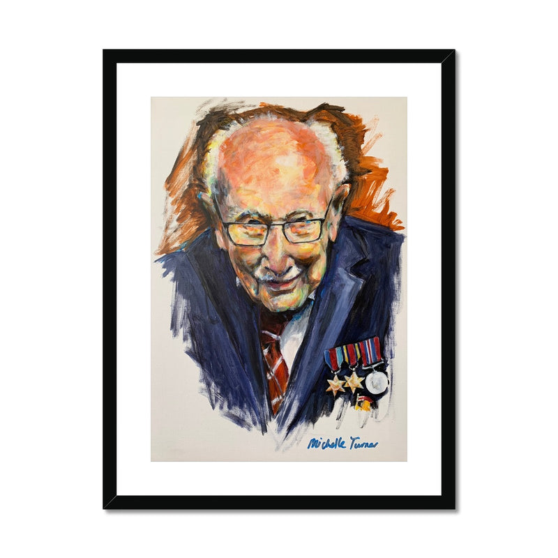 Limited Edition mounted and framed print of the Original 'Captain Sir Tom Moore' painted by Michelle Turner. Simple, elegant design, these framed prints are created from high-quality wood, milled with simple clean lines and presented with a satin finish. Includes an off-white mount that will not discolour or fade with age. Premium, fine art. Handmade by specialist picture framers - FSC certified off-white mat / window mount - Delivered ready for hanging  Free UK Delivery.