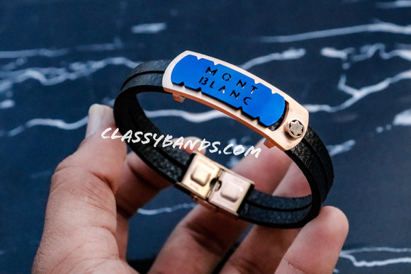 Classy Rose Gold & Blue with Black Leather Bracelet