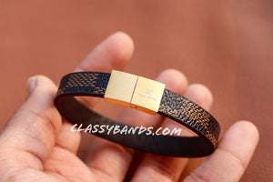 Classy Brown & Gold Leather Bracelet