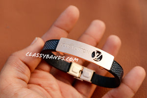 Classy Black & Rose Gold Leather Bracelet