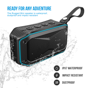 waterproof black and blue ATG rugged mini wireless bluetooth speaker