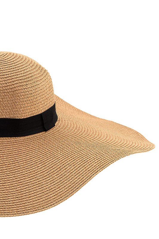 Floppy straw sunhat with black band