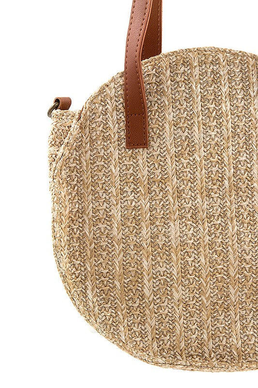 Round Tan Straw Shoulder Bag with Brown Straps