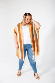 Orange Rust Multi Striped Sweater Poncho