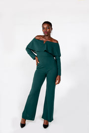 Green Off Shoulder Long Sleeve Bell Pants Jumpsuit
