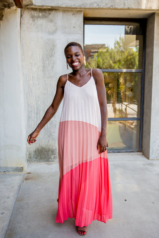 Color Block Coral and Pink Spaghetti Strap Maxi Dress