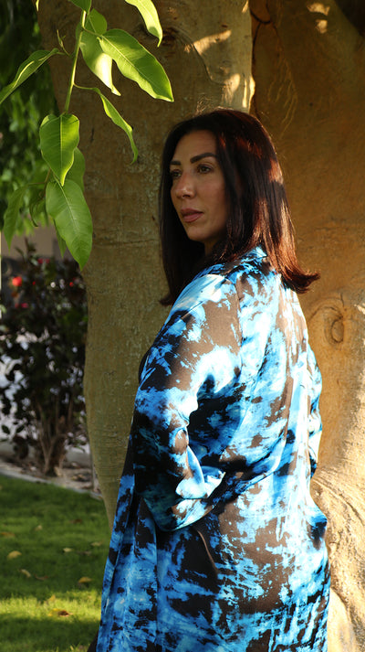 BOHEMIAN UNISEX SILK ROBE IN BLACK AND BLUE - Ninousha