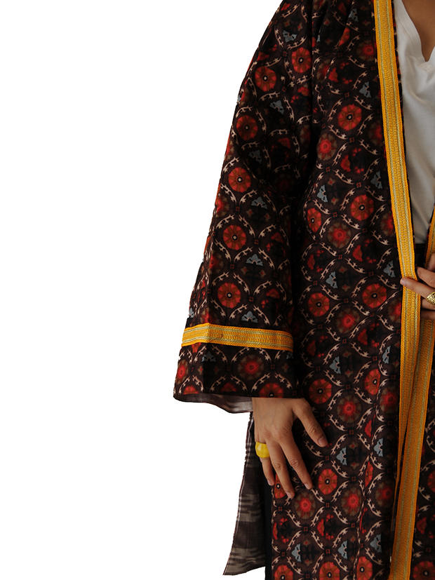 Dark Brown Kimono Jacket with orange Neckline and Ikat print lining - Ninousha