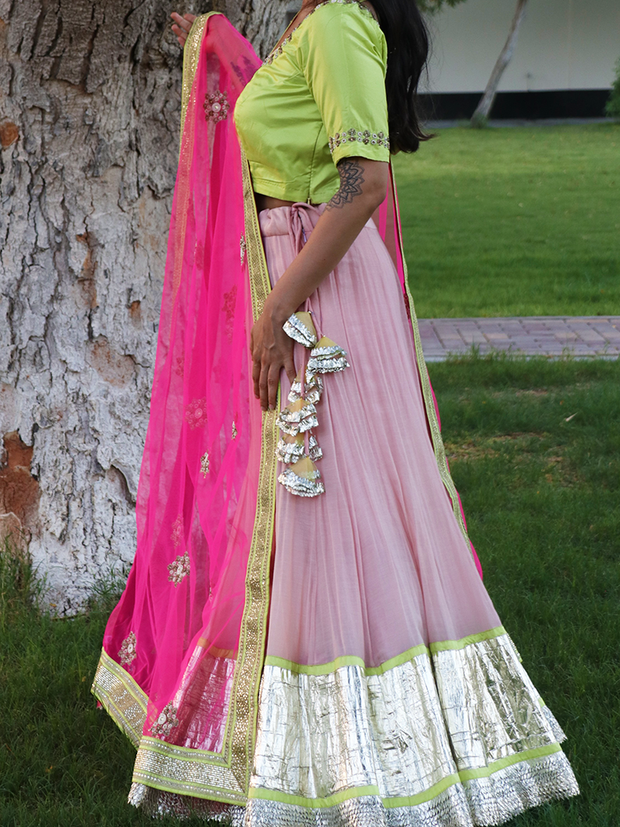 "Lehenga Choli ""Henna Night"" 3 Piece Set in Fuschia, Lime Green & Silver - Ninousha"