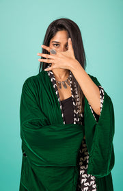 """YOU ARE MAGIC"" GREEN VELVET KIMONO - Ninousha Fashion"