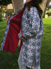 Bluish-Grey Geometric Kimono Jacket with Maroon Neckline & Maroon Lining - Ninousha Fashion