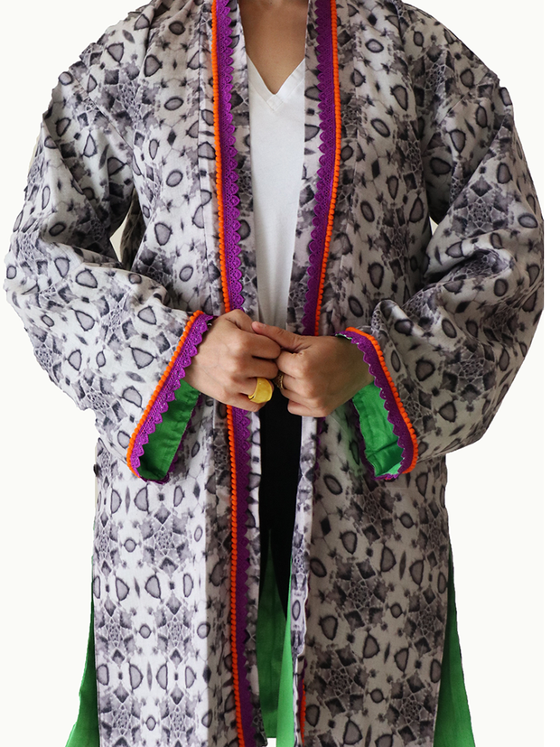 Grey Geometric Kimono Jacket with (Orange and Purple) Neckline & Apple Green Lining - Ninousha