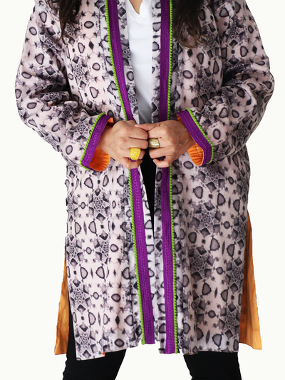 Grey Geometric Kimono Jacket with (Purple and Green) Neckline & Orange Lining - Ninousha