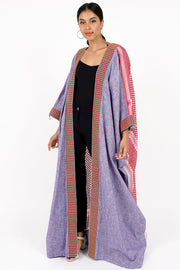 ONE SIZE FITS ALL BLUE JEANS LINEN GHOUTRA BISHT WITH RED & GREEN NECKLINE - Ninousha