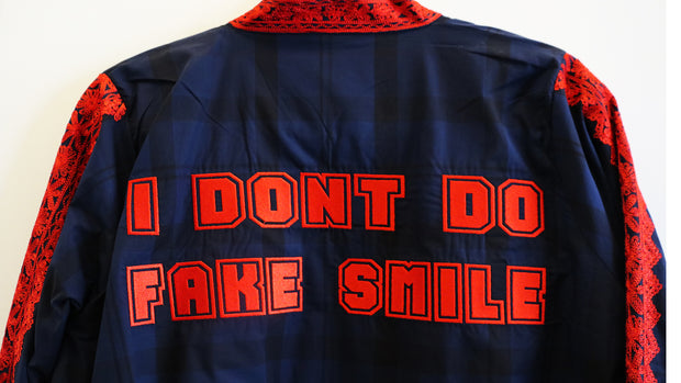 """I Dont Do Fake Smile"" Coat - Ninousha"