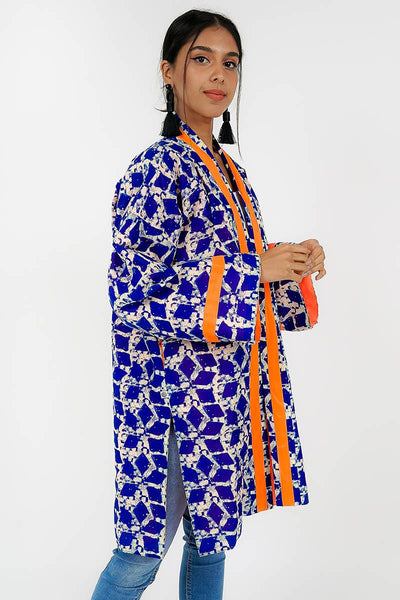 ONE SIZE FITS ALL BLUE GEOMETRIC KIMONO JACKET WITH ORANGE LINING - Ninousha