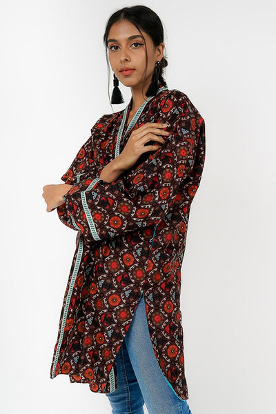 ONE SIZE FITS ALL BROWN GEOMETRIC KIMONO JACKET WITH TURQUOISE LINING - Ninousha