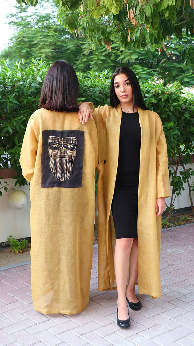 BOHEMIAN UNISEX LINEN ROBE IN MUSTARD WITH TRIBAL EMBROIDERED PATCH - Ninousha