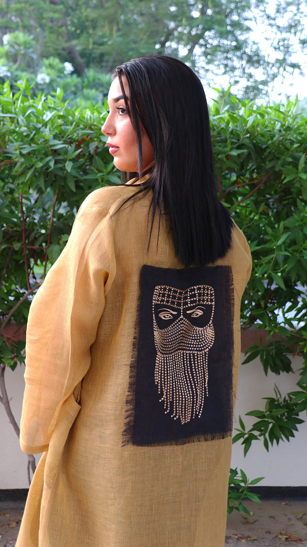 BOHEMIAN UNISEX LINEN ROBE IN MUSTARD WITH TRIBAL EMBROIDERED PATCH - Ninousha Fashion