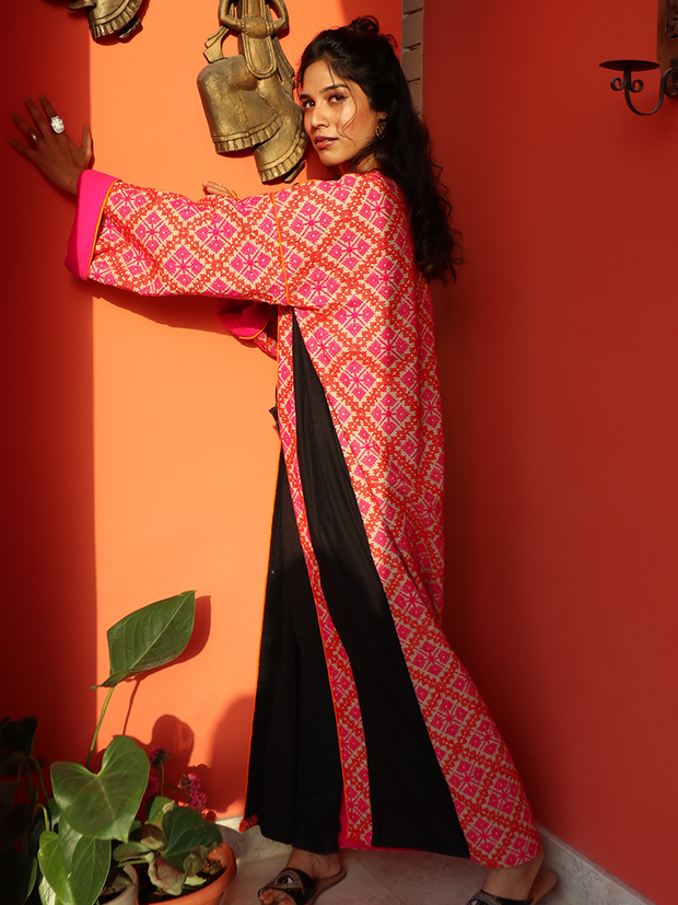ORANGE & FUSCHIA EMBROIDERED ABAYA - Ninousha