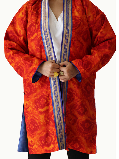 Orange Tie Dye Kimono Jacket with Wide Blue & Gold Neckline and Blue lining - Ninousha