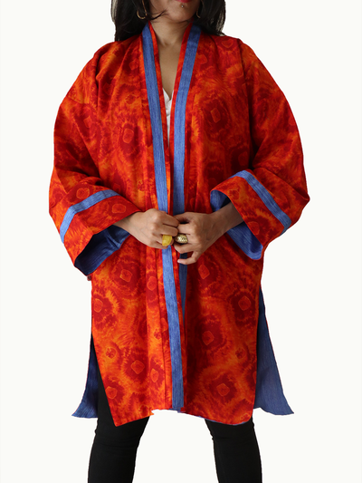 Orange Tie Dye Kimono Jacket with Blue Neckline & Blue Lining - Ninousha