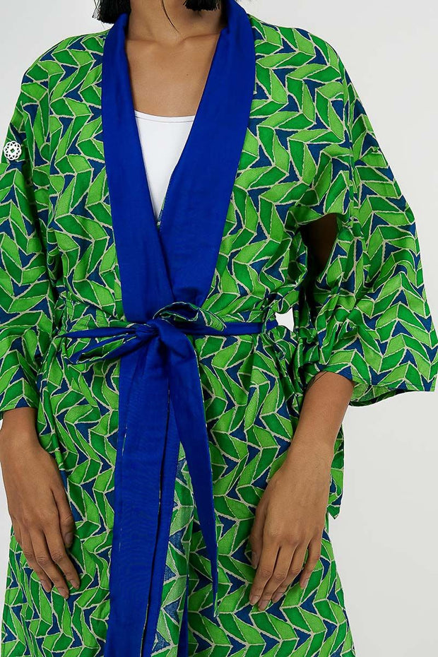 ONE SIZE FITS ALL TRIBAL COTTON KIMONO IN GREEN AND BLUE - Ninousha