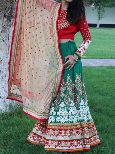 "Lehenga Choli ""Henna Night"" 3 Piece Set in Red, Green & Silver - Ninousha"
