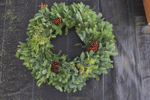 Noble Fir Mixed Wreath 24""
