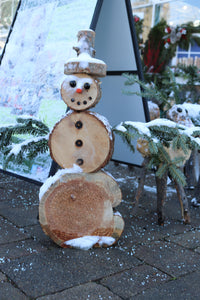 "Frosty 14"" Small Log Snowman"