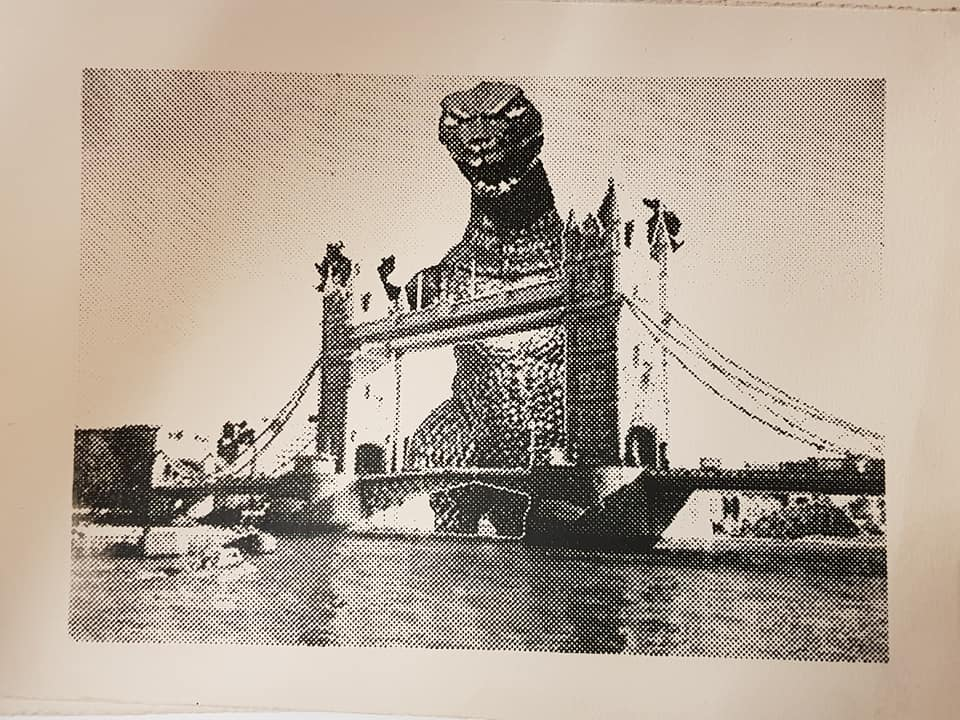 Godzilla Gaia at Tower Bridge - hand bill
