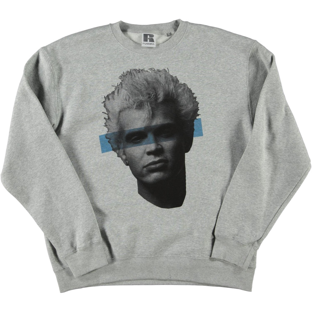 SRM x Trafford Parsons Billy Idol Russell Crew Sweatshirt Grey Blue