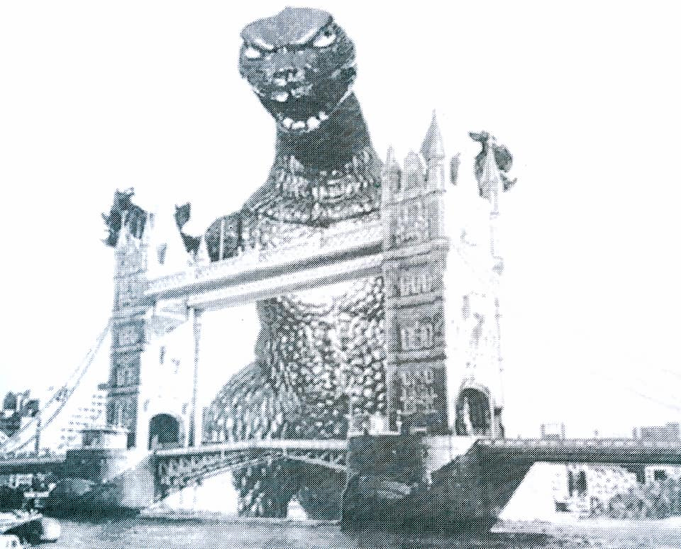 """Godzilla Gaia at Tower Bridge"" one white cartridge parer"