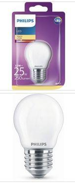 Philips LED Tropfenlampe E27 2,2W 250lm 2700K 230V