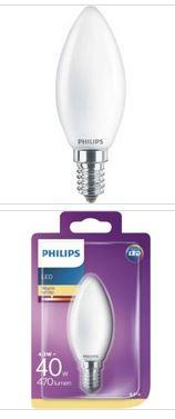 Philips LED Kerzenlampe E14 4,3W 470lm 2700K 230V