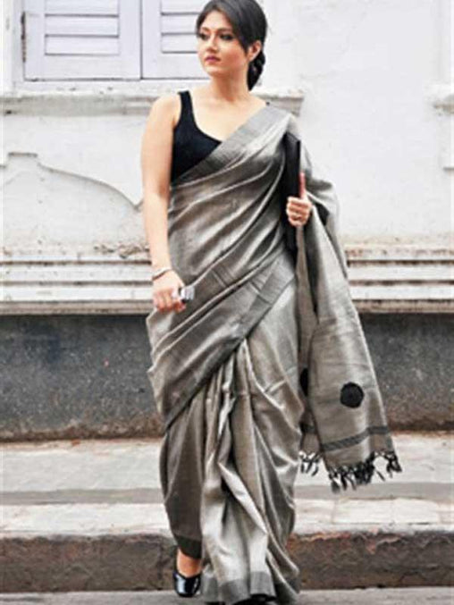 ANGELIC GREY COLORED SOFT SILK SAREE - DN3263