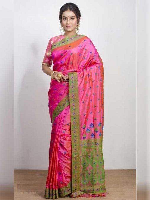 Winsome Pink Colored Soft Silk Saree - DN3152