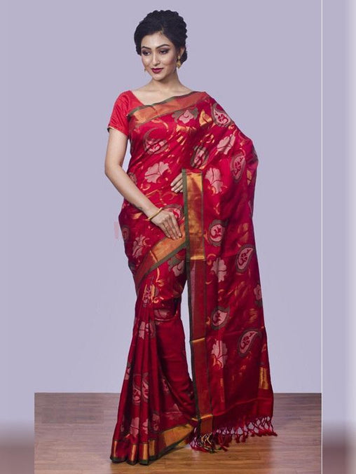 Splendid Red Colored Soft Silk Saree - DN3187