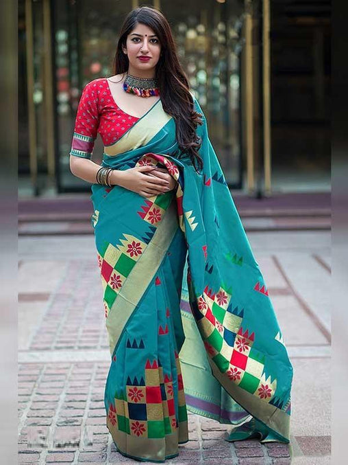 Mellifluous Rama Colored Soft Silk Saree - DN3484