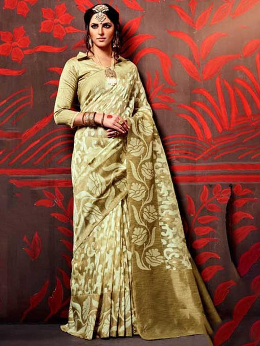 Bewitching Beige Colored Soft Silk Saree - DN5566