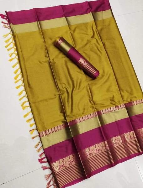 CRAZY SARI  YELLOW & PINK IMPRESSIVE SOFT COTTON SILK SAREE WITH BLOUSE PIECE ( SHABANAM-YELLOW-PINK ) - LD62