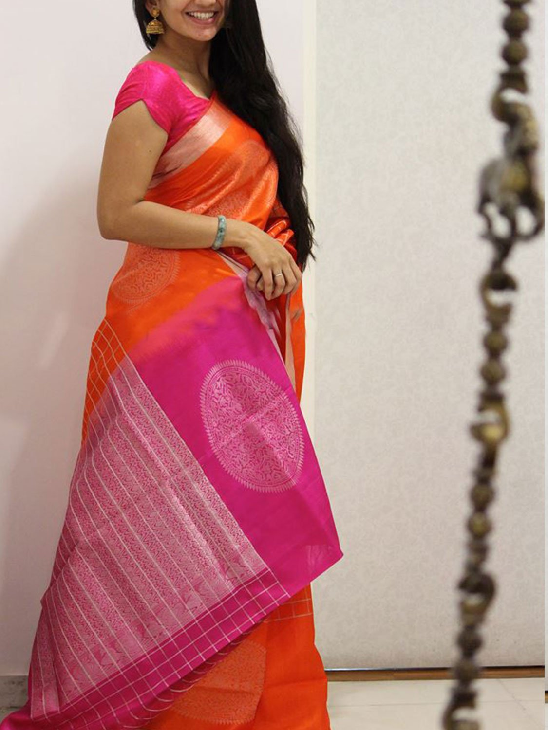 ADMIRABLE ORANGE AND PINK COLOR SOFT SILK DESIGNER SAREES - SC1027