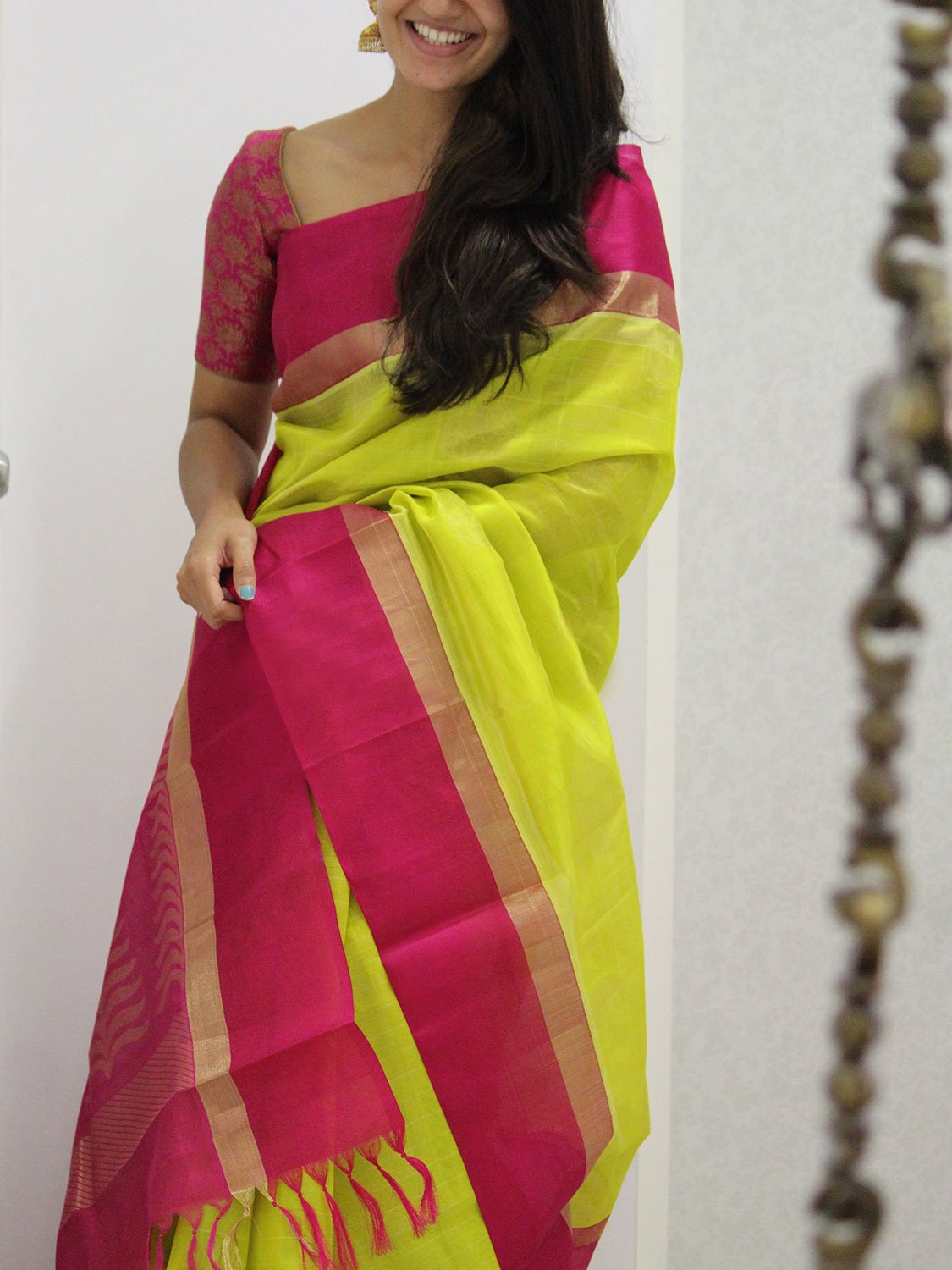 FLAWLESS YELLOW COLOR SOFT SILK DESIGNER SAREES - SC1057