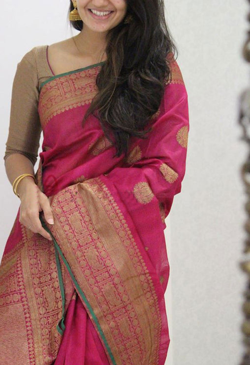 DREAMY PINK COLOR SOFT SILK SAREE - SC1080