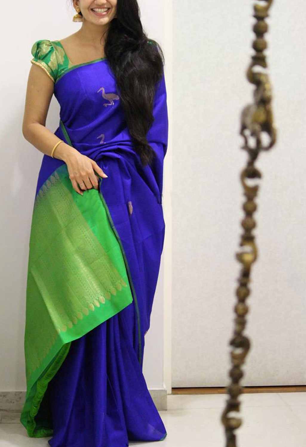 ROYAL BLUE AND GREEN COLOR SOFT SILK SAREE - SC1091